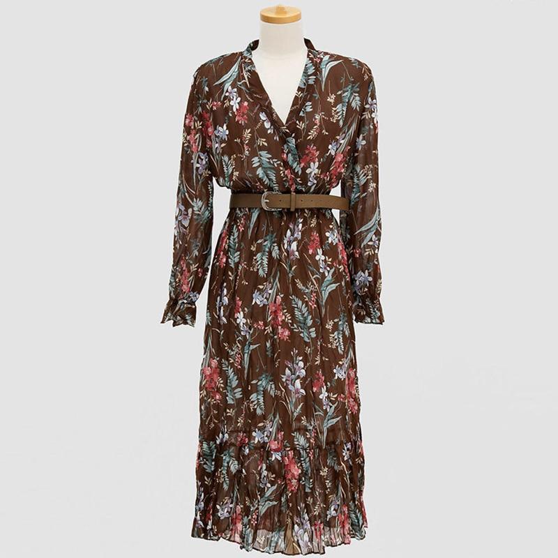 Flectit Vintage Women Floral Dress With Belt Long Sleeve V Neck Airy Chiffon Feminine Dress Fall Spring 2020 * 4
