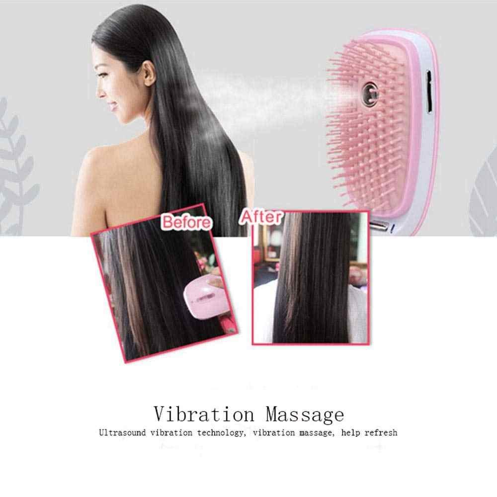 ナノスプレー電気イオンヘアブラシブラシマイナスイオンラウンド髪くしブラシプロフェッショナル頭皮マッサージストレート毛スタイリングツール