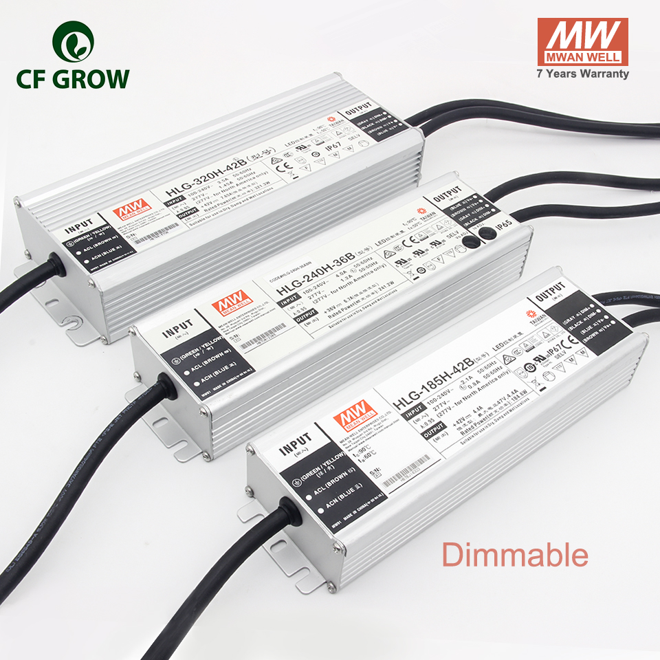 Meanwell Dimmable 185W 240W 320W Driver HLG-185H-42B HLG-240H-36B, HLG-320H-42B LPC-60-1400, APV-12-12 Output LED Power Adapter