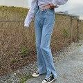 Streetwear Denim Zerrissenen Jeans für Frauen 2021 Neue Volle Länge Baumwolle Cowboy Hohe Taille Breite Bein Hosen Weibliche Kleidung Frühling