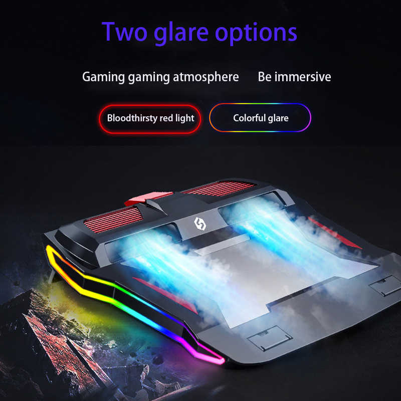2020 ใหม่ RGB Gaming แล็ปท็อป Cooler โน้ตบุ๊คโน้ตบุ๊ค 3000 RPM ที่มีประสิทธิภาพ Air Flow Cooling Pad สำหรับ 12-17 นิ้วแล็ปท็อป