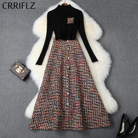 Winter Women Set Full Sleeve Turtlenck Pullover Tweed Retro Big Swing Skirt 2 Piece Set Women Elegant Slim Patry Dress Set