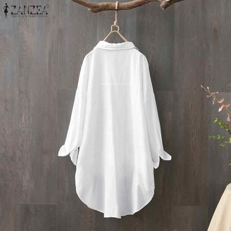 נשים חולצות וחולצות ZANZEA בתוספת גודל גבירותיי מקרית עבודה משרד חולצה טוניקת כותנה לבן Blusas כפתורים למטה בייבידול Mujer