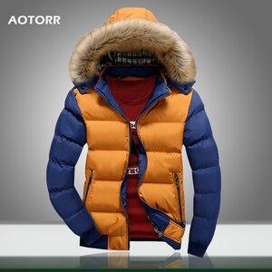 Image 1 - 2020 Men Winter Coat Warm Fleece Down Jacket 9 Color New Fashion Fur Hood Hat Men Outerwear Casual Mens Coats Thick Hoodies 4XL