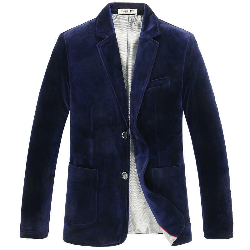 Nowa wysokiej jakości moda męska marynarka jesienno-wiosenna złoty aksamit kurtka pojedyncze piersi Casual Men Blazers Plus rozmiar XL-6XL 7XL