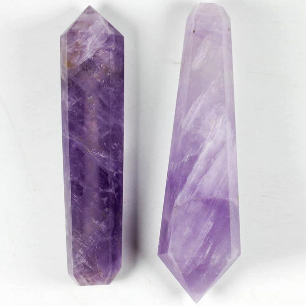Natural Beautiful Amethyst Carving Stick Pipette Quartz Crystal Pipe For Reiki Healing Energy Meditation