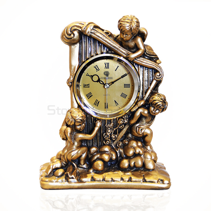 High-class european-style resin home decoration lifestyle furnishing articles creative angel harp clock sitting room 8016