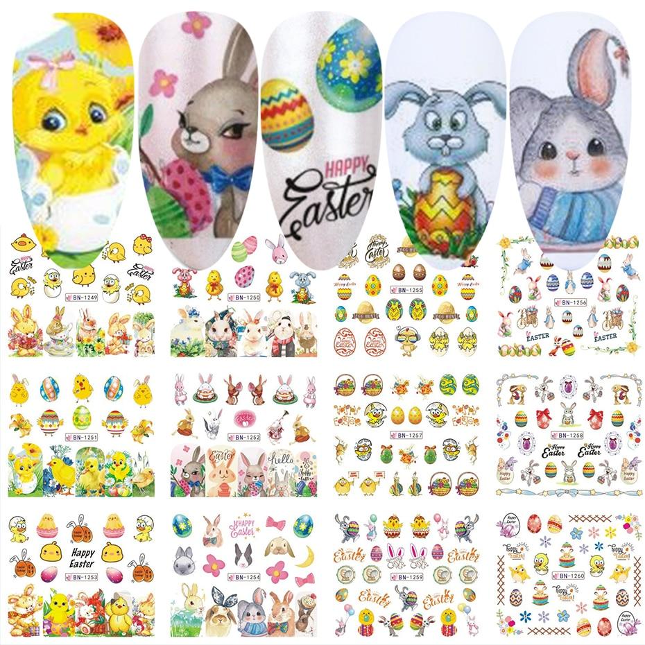 Пасхальное яйцо-Цыпленок, 12 шт., Слайдеры для ногтей, дизайн кролика, Водные Наклейки, обертывания, наклейки для ногтевого дизайна, маникюрны...