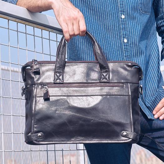 New Genuine Leather Men's Handbag Male Business Large Capacity Briefcase 14 Inch Laptop Bag Travel Shoulder Messenger Bags