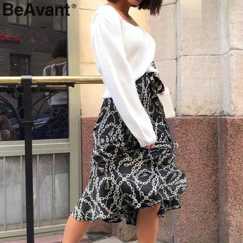 BeAvant Summer Midi Skirts Black Women 2020 Print Lace Up High Fashion Wrap Sexy Skirt Female Spring A Line Skirts Holiday Lady 4