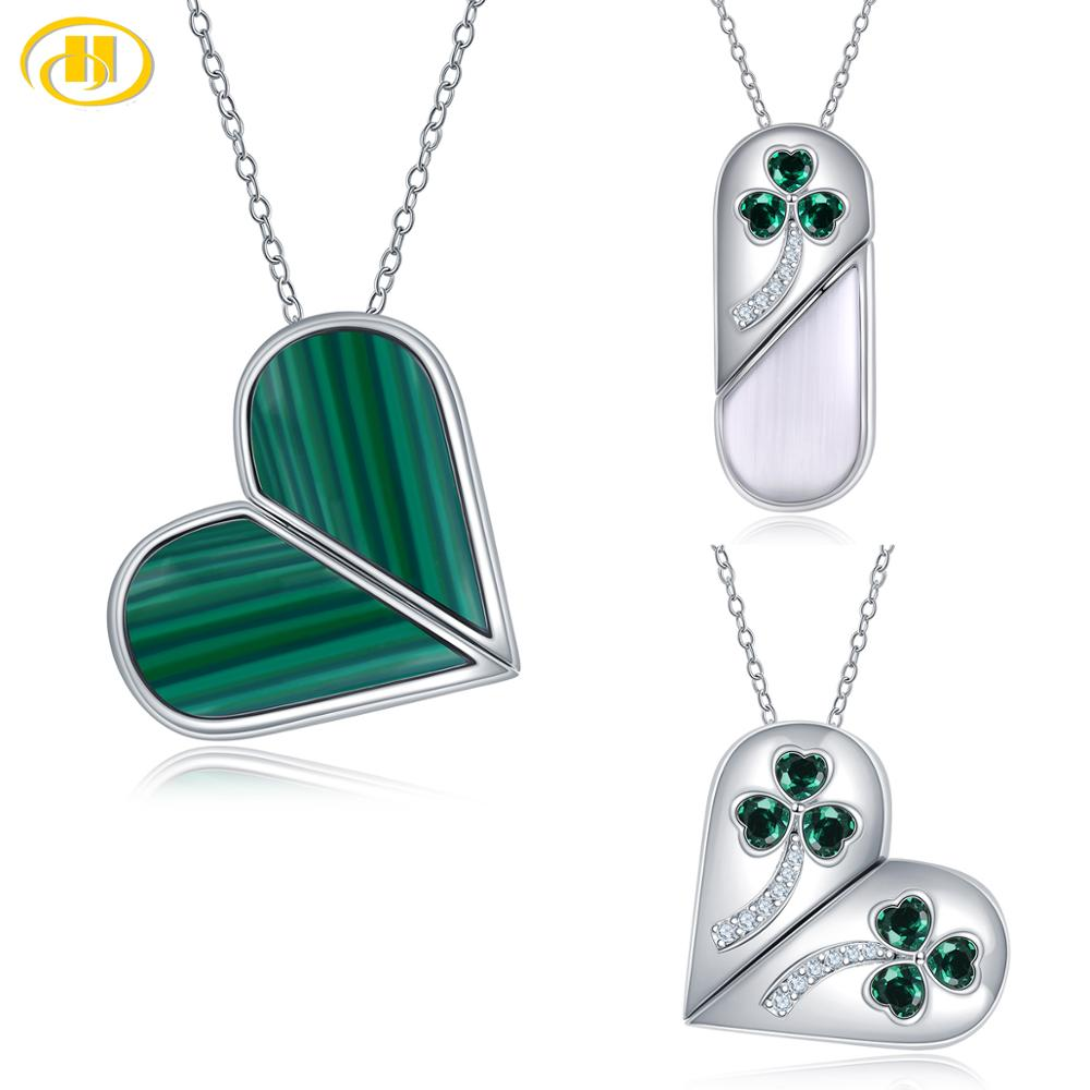 Hutang Unique Moving 925 Silver Heart Pendant Gemstone Malachite Cat Eye 12 Stone Selection Fine Elegant Jewelry For Women Gift