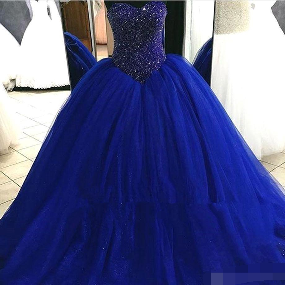Royal Blue vestidos de 15 anos 2019 Quinceanera Dresses Sweet 16 Ball Gown Prom Dresses Tiered Tulle Beaded Crystals Princess