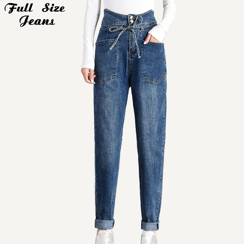 Plus Size Extra Long Big Pockets Loose Wide Leg Women Harem Jeans 5XL 7XL Autumn High Waist Tall Girl Long Denim Pants Mom Jean