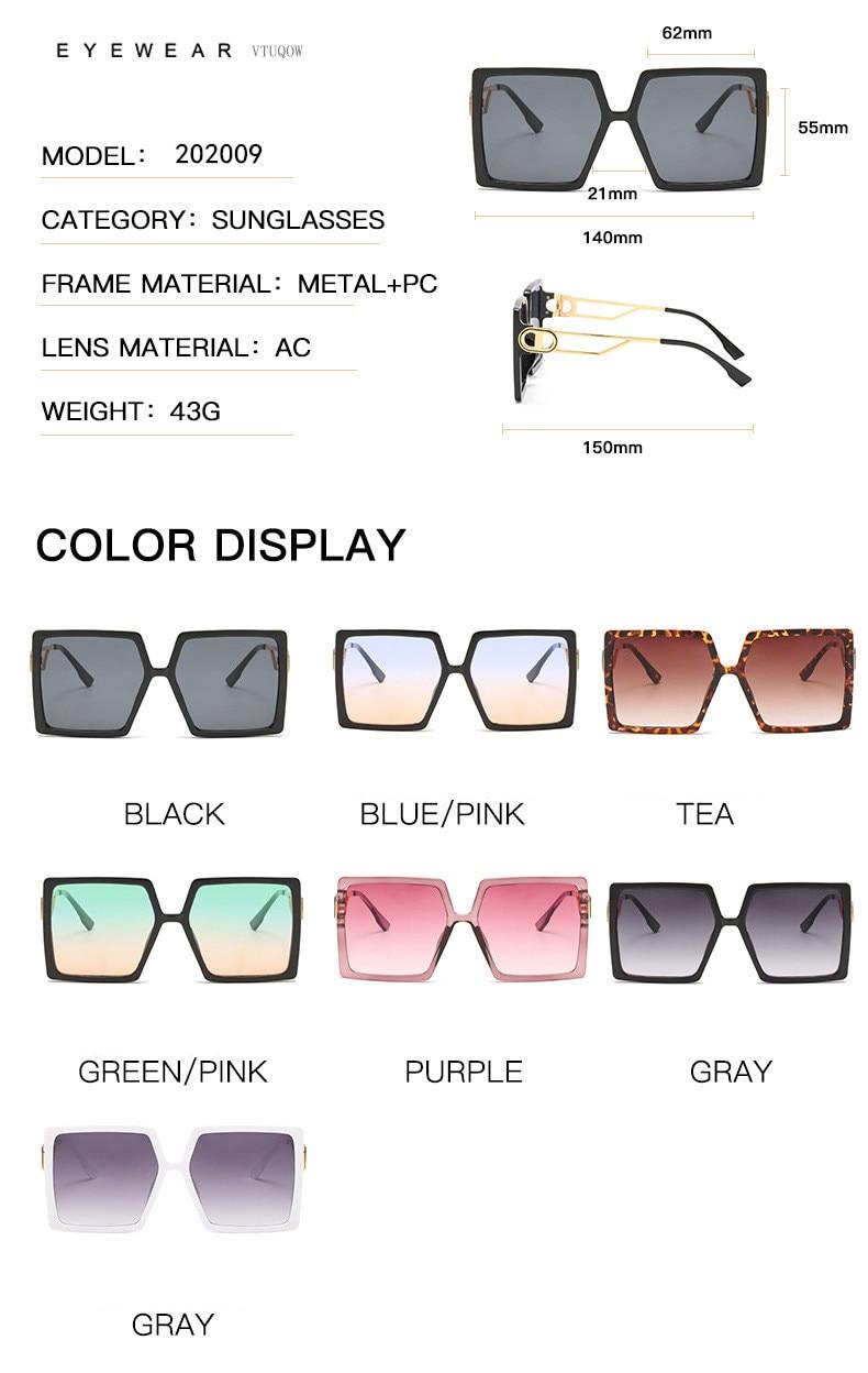 Fashion Sunglass Designer Luxury Brand Square Sunglasses Women Vintage Oversized 2021 trend Female Sun Glasses Shades For Women (2)