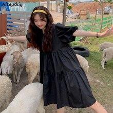 Robe à manches courtes pour femmes, couleur unie, douce, Simple, fraîche, étudiantes, col rond, plissée, Style coréen, genou, robes d'été à la mode