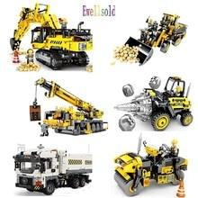 Ewellsold Engineering Bulldozer Crane Compatible Technic Truck Drill car Building Block City Construction Toy For Children gift