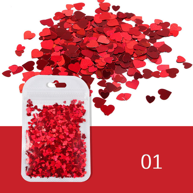 2g/Bag Sweet Love Heart Sequins For Nail Design Thin Paillettes AB Mixed Flakes Acrylic Glitter Nail Art Decorations Manicure Rhinestones & Decorations    -