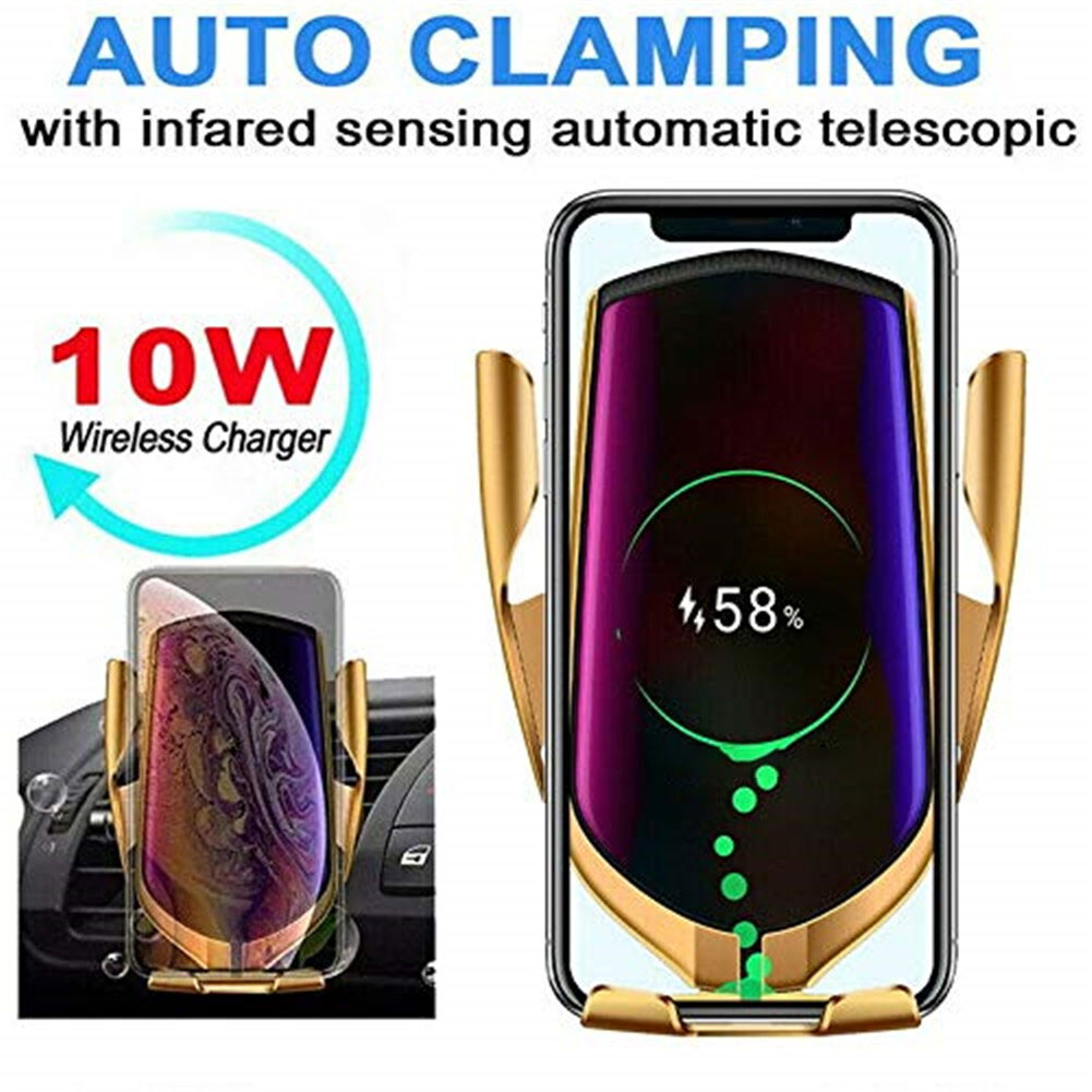 Wireless Car Charger IR Intelligent Automatic Clamping Car Charger Wireles Mount Compatible Car Induction Mobile Phone Holder