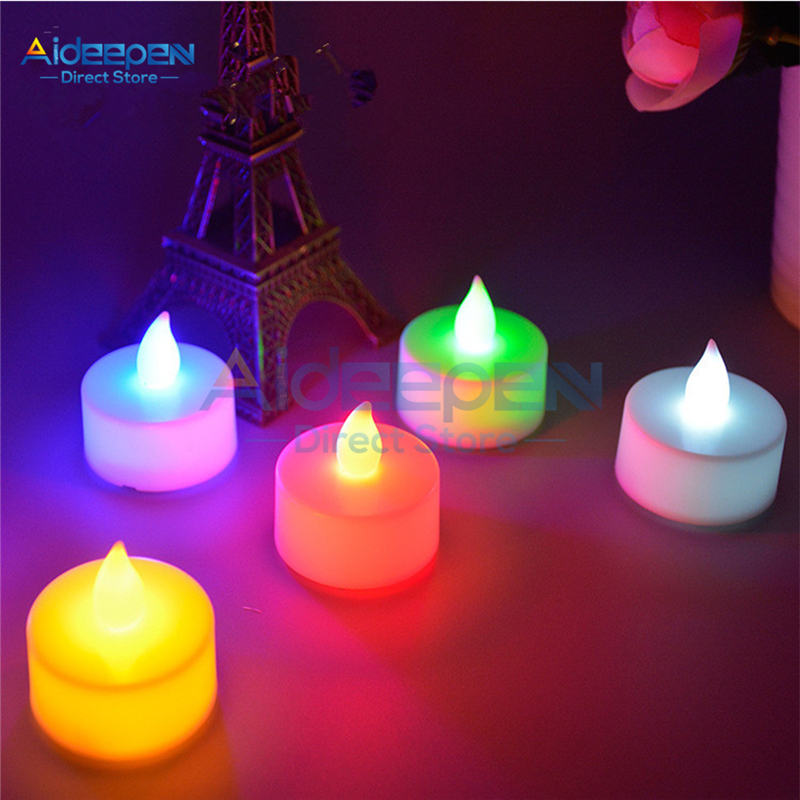 1Pcs Electronic LED Candle Tea Light Battery Powered Colourful Simulation Flame Candle Tea Lamp For Wedding Party Bedroom Decor