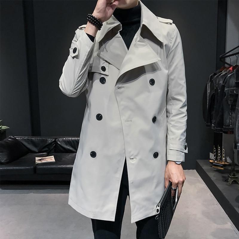 2020 Spring Male Streetwear Fashion Windbreaker Jacket Men Long Trench White Windbreaker Male Jacket Loose Coat Mabrigo Hombre