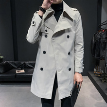 2020 Spring Male Streetwear Fashion Windbreaker Jacket Men Long Trench White Win
