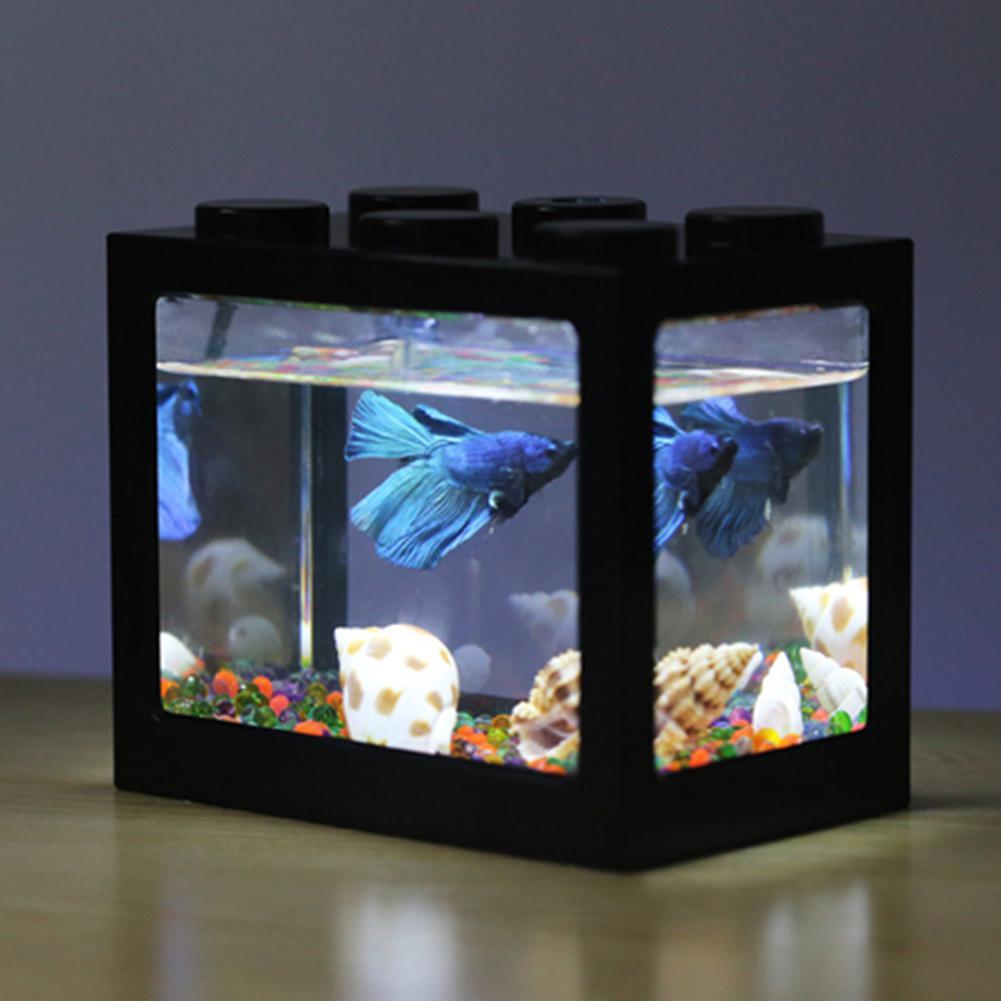 Hot Mini Aquarium USB LED Light Fish Bowl Home Office Tea Table Decoration betta Fish Tanks Breeding Aquarium Supplies 6 Colors