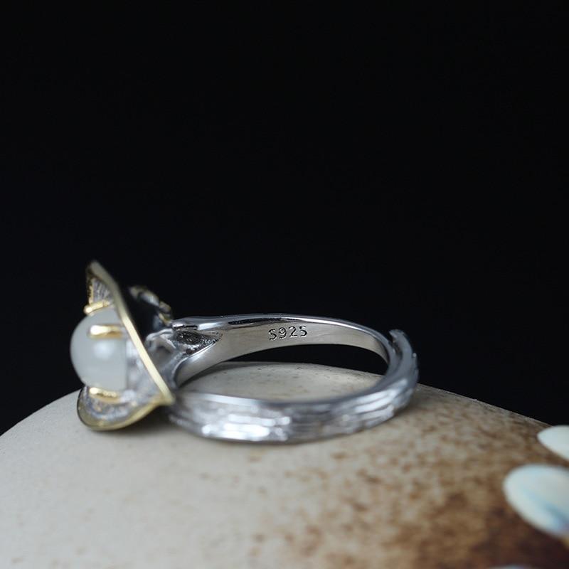 Leouerry 925 argent Sterling pierre de lune Calla lys fleurs ouverture anneaux pour femmes Vintage Style dame argent 925 bijoux - 5