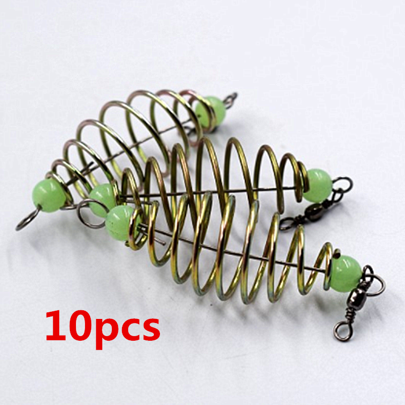 10 Pcs/Set Fishing Bait Spring Lure Inline Hanging Tackle Stainless Steel Feeder Fishing Tools Fishing Accessories