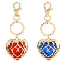 Модные ювелирные изделия Легенда о Zelda брелок синий кулон в виде красного сердца влюбленные пары брелок для женщин и мужчин