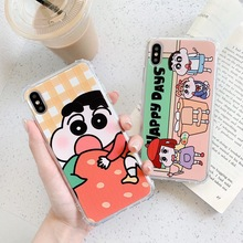 Cartoon Crayon Shin-chan Sister Phone Case For iphone Xs MAX XR X 6 6s 7 8 plus Strawberry Funny Drop-proof soft TPU back Cover цена и фото