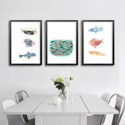 Международная торговля, Новый стиль, Северный Европейский стиль, современный минималистичный хипстер, мультфильм, акварельная рыба