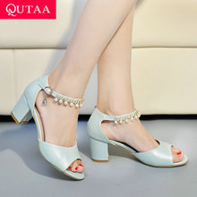 Female Sandals Buckle Women Shoes Square High-Heels Big-Size Peep-Toe Fashion Summer
