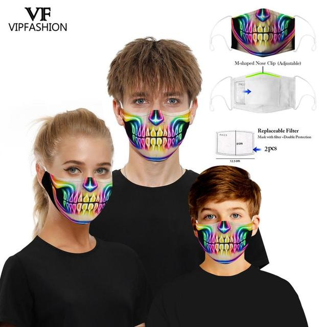 VIP FASHION New Funny Adult Kids 3D Grimace Ghost Printed Face Masks Cotton Mouth Mask Clothing Accessories For Party 4
