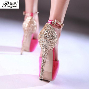 sexy 14 cm High Heels Pumps Fish Mouth Peep Toe Platform Shoes Womens Fetish Shoes Night club Party Heels Red Stiletto