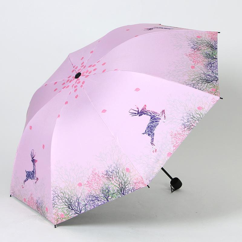 Creative Deer Folding Parasol Sun-resistant Parasol UV-Protection All-Weather Umbrella Dual Purpose Umbrella Wholesale