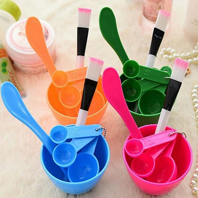 1 Set 4 In 1 DIY Facial Mask Mixing Bowl Brush Spoon Stick Brush Set Professional Facial Beauty Tools Face Care Kits For Women
