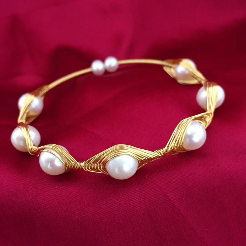 Can customize length handmade women thick bangle gold natural white freshwater genuine pearl stretch bracelet