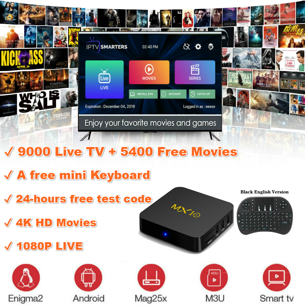 TTVBOX MX10 Android <font><b>TV</b></font> <font><b>Box</b></font> 4GB 32GB Android 9.0 OS RK3328 Quad Core 4K HDR 2.4GHz WIFI USB 3.0 Smart <font><b>TV</b></font> Android Media Player image
