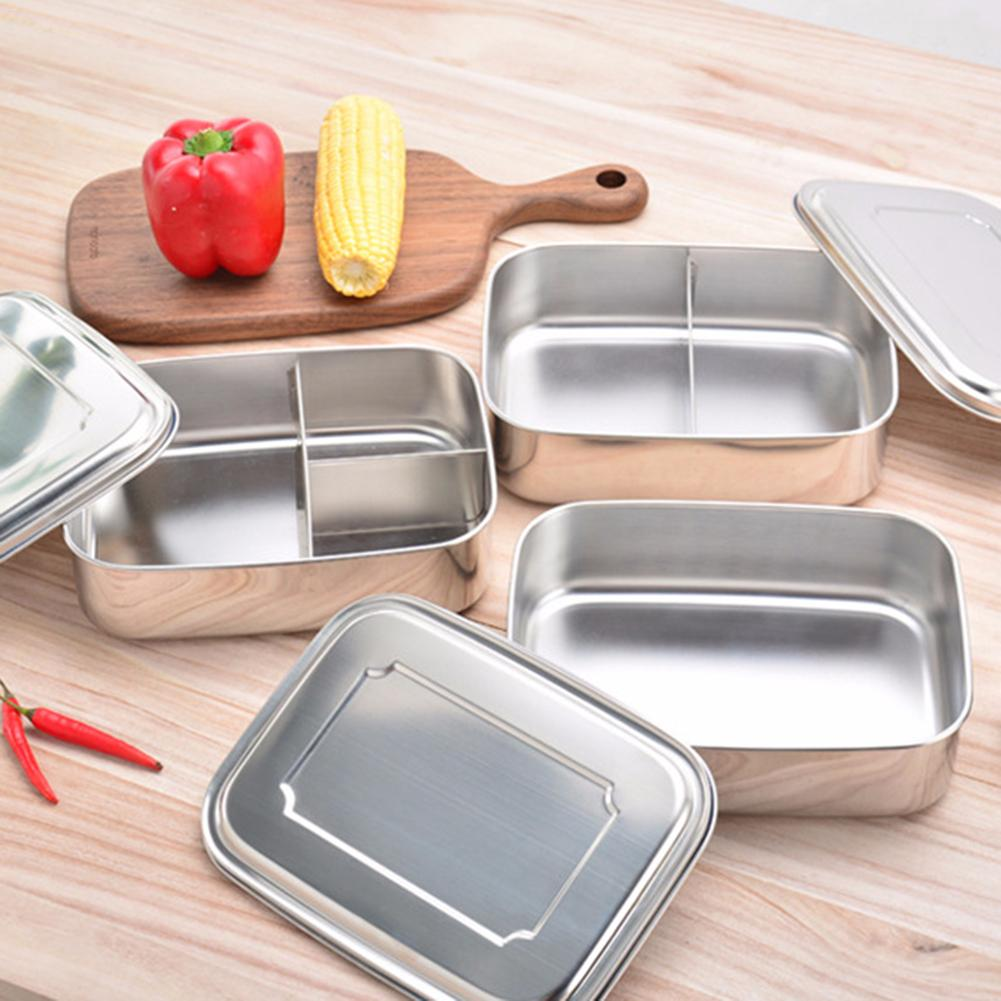 1 Grid /2 Grid/3 Grid Specifications Stainless Steel Square Bento Lunch Box Food Container Storage Dinnerware Portable Lunch Box