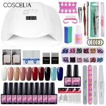 COSCELIA 54W UV LED Nail Lamp Dryer For Manicure Tools Set Art 10pc Colors Gel Polish Varnish Kit