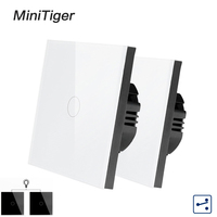 Minitiger 1/2/3 Gang 2 Way EU Standard Control Wall Touch Screen Switch,White Crystal Glass Panel,cross/through switch,2pcs/pack