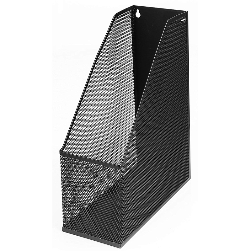 Mesh Luxury Magazine Rack, Extra Wide, Wall-Mounted Steel Magazine Rack File (1, Black)