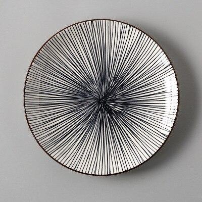 Креативный японский стиль 8 керамическая тарелка дюймовая посуда для завтрака говядины десертное блюдо для закусок простое мелкое блюдо домашнее блюдо для стейков - Цвет: 3