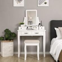 Древесно-волокнистая доска из МДФ, многофункциональный туалетный столик с табуретом, Европейский женский комбинированный белый 4 ящика, зеркало HWC KDCW1