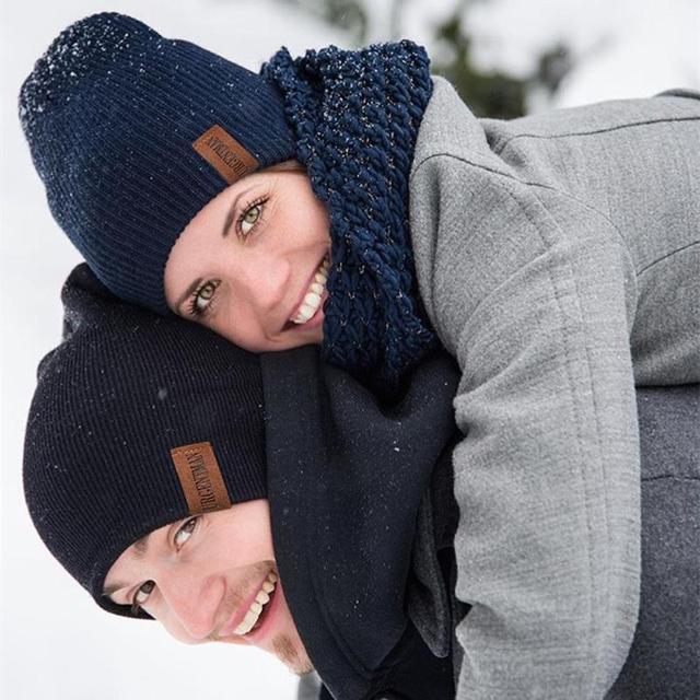 New Unisex Letter Beanie Hat Leisure Add Fur Lined Winter Hats For Men Women Keep Warm Knitted Hat Fashion Solid Ski Bonnet Cap 5