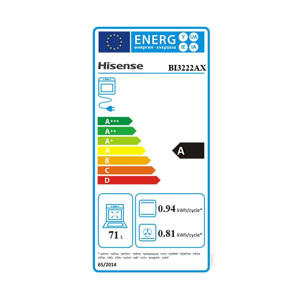 Hisense BI3222AX four encastré, 71L, 59,7 × 59,5 × 54,7 cm, 2700W, multifonctionnel, facile à nettoyer, icône d'affichage LED - 2
