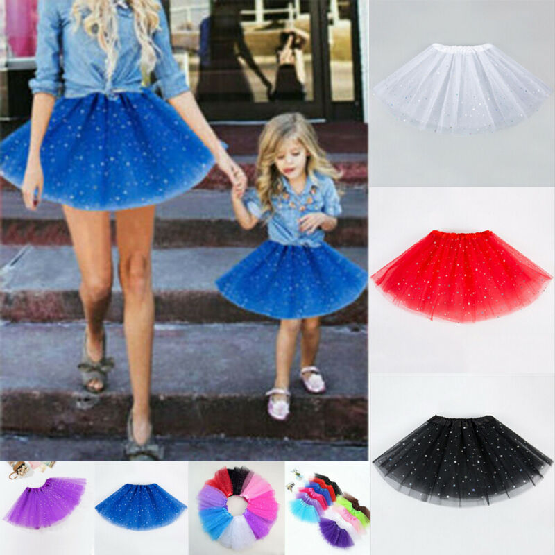 Adult Kids Tulle Tutu Skirt Dressup Party Costume Ballet Womens Girls Dance Wear