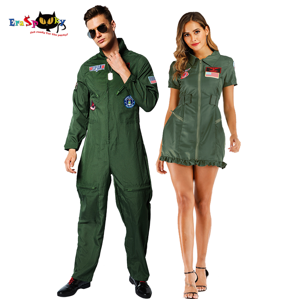 Retro Top Gun Maverick Flight Dress Halloween Costume For Adult Army Green American Military Pilot Uniform Couple Cosplay