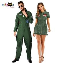 Retro Top Gun Maverick Flight Dress Halloween Costume For Adult Army Green American Military Pilot Uniform Kids Group Cosplay