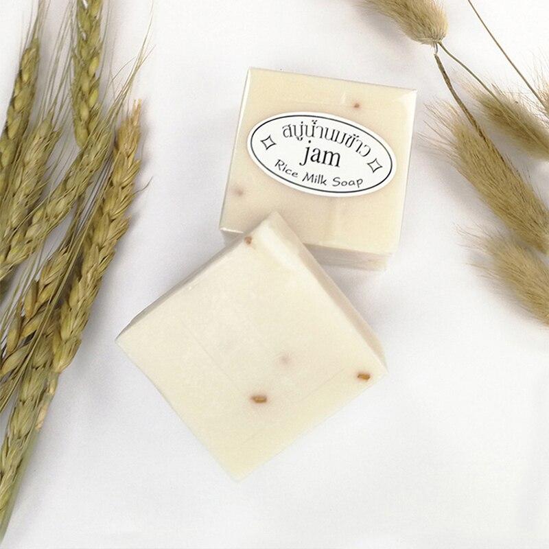 Thailand Jasmine Rice Soap Handmade Collagen Vitamin Skin Whitening Bathing Tool Rice Milk Soap Bleaching Agents Acne TSLM1